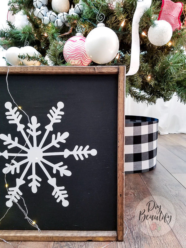 DIY wood framed snowflake sign