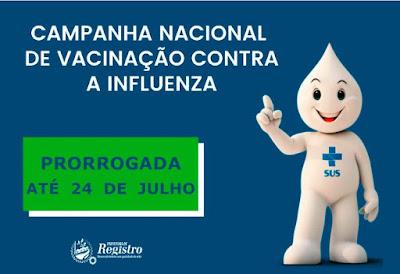 Vacinação contra a gripe é prorrogada e estendida para toda população até 24/07