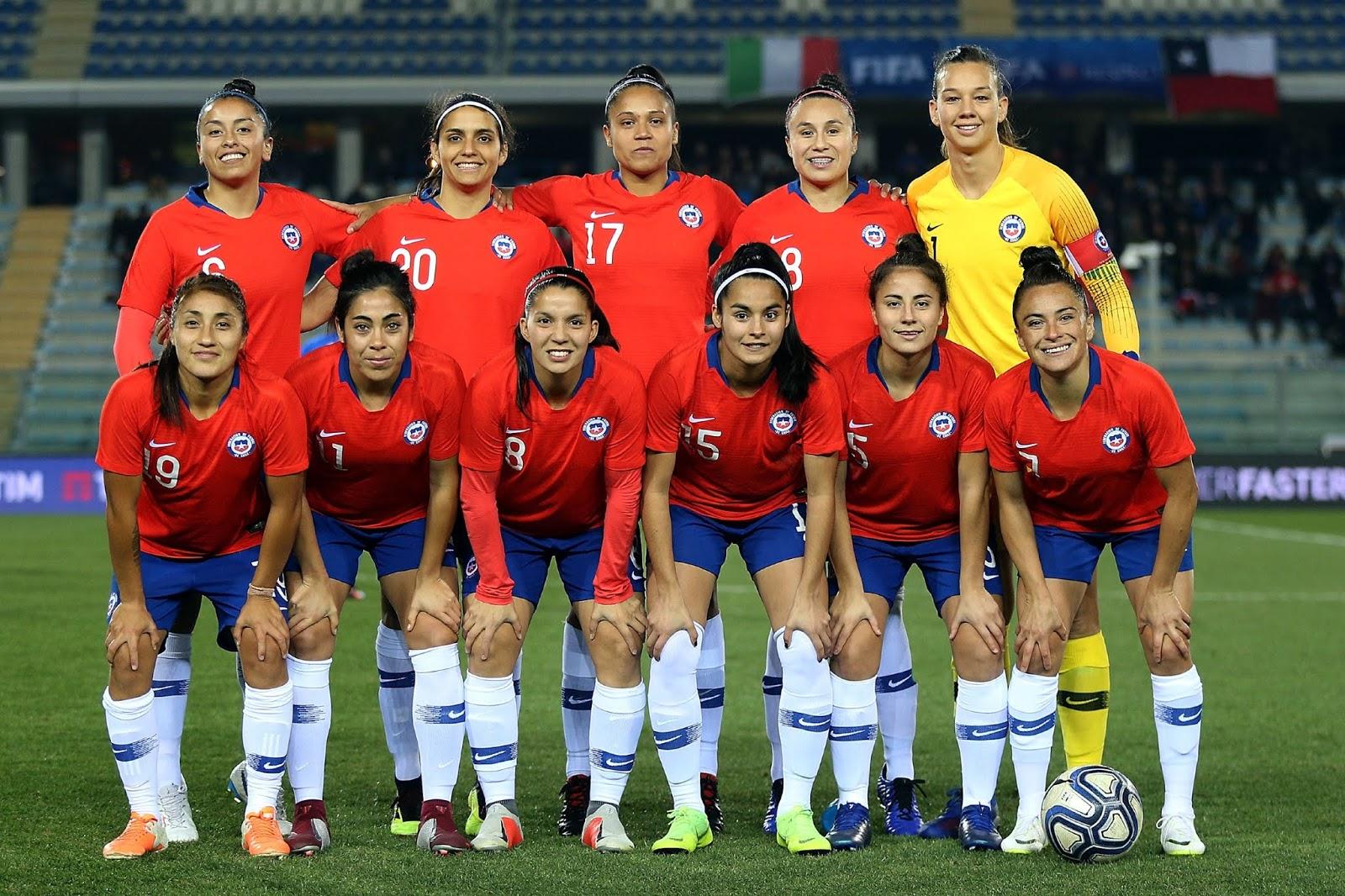 Formación de selección femenina de Chile ante Italia, amistoso disputado el 18 de enero de 2019