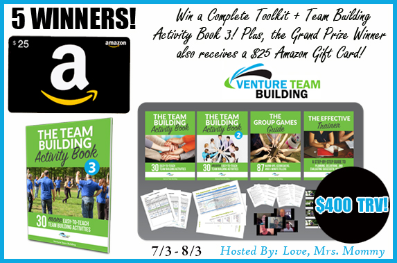 Venture Team Building Prize Pack + Amazon Gift Card! $400 TRV Giveaway! 5 Winners! OPEN WORLDWIDE!