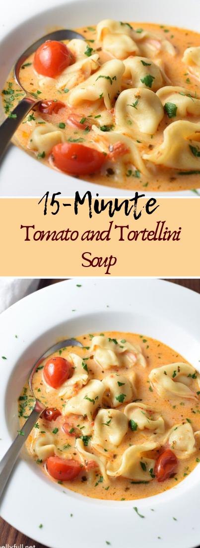 15-Minute Tomato and Tortellini Soup #vegan #recipevegetarian