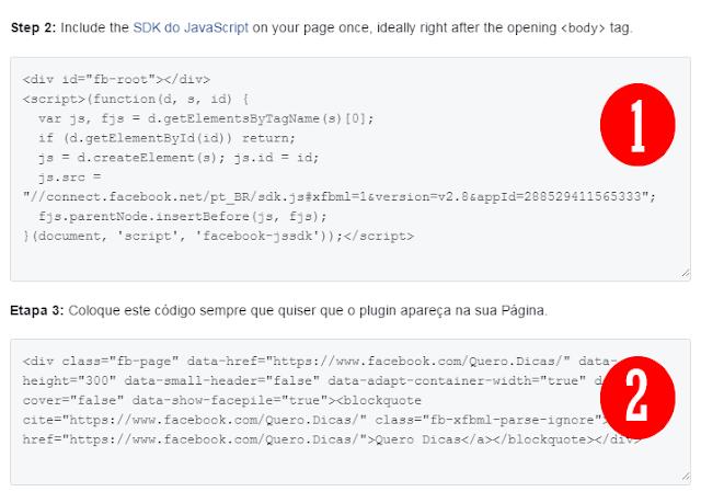 Códigos da caixa de curtir do Facebook