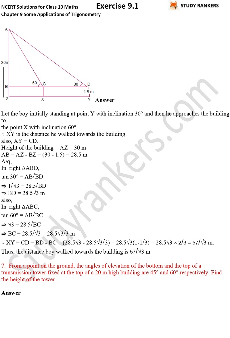 NCERT Solutions for Class 10 Maths Chapter 9 Some Applications of Trigonometry Exercise 9.1 Part 4