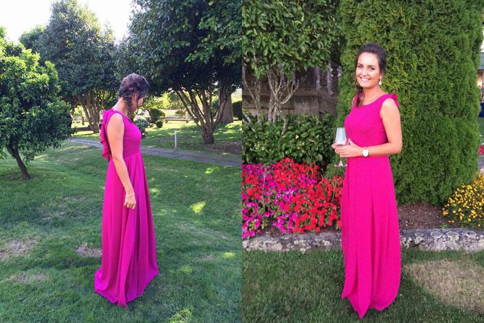 invitada perfecta boda vestido largo escote espalda rosa