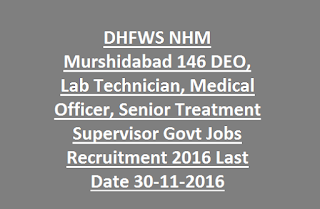 DHFWS NHM Murshidabad 146 DEO, Lab Technician, Medical Officer, Senior Treatment Supervisor Govt Jobs Recruitment 2016 Last Date 30-11-2016