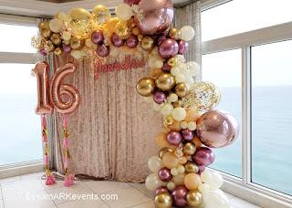 Organic Balloon Arch Sweet Sixteen