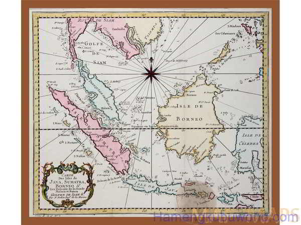 Peta Nusantara Kuno - Carte des Isles de Java Sumatra Indonesia map Karya Bellin 1758