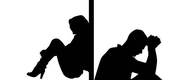 Separação e divórcio: Casal triste separado