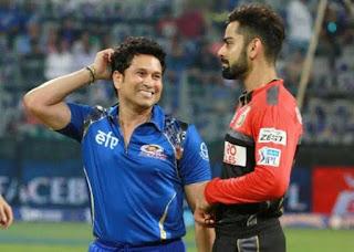 Virat Kohli and Sachin Tendulkar during an IPL game