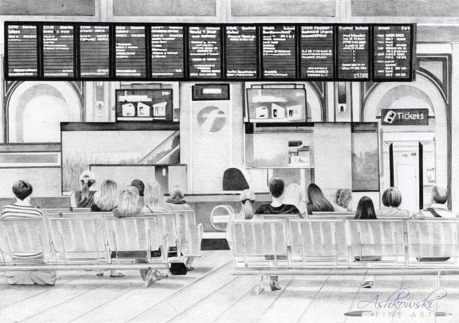 04-Paddington-Station-S-Ashkowski-Cities-and-Landmarks-Ballpoint-Pen-Drawings-www-designstack-co