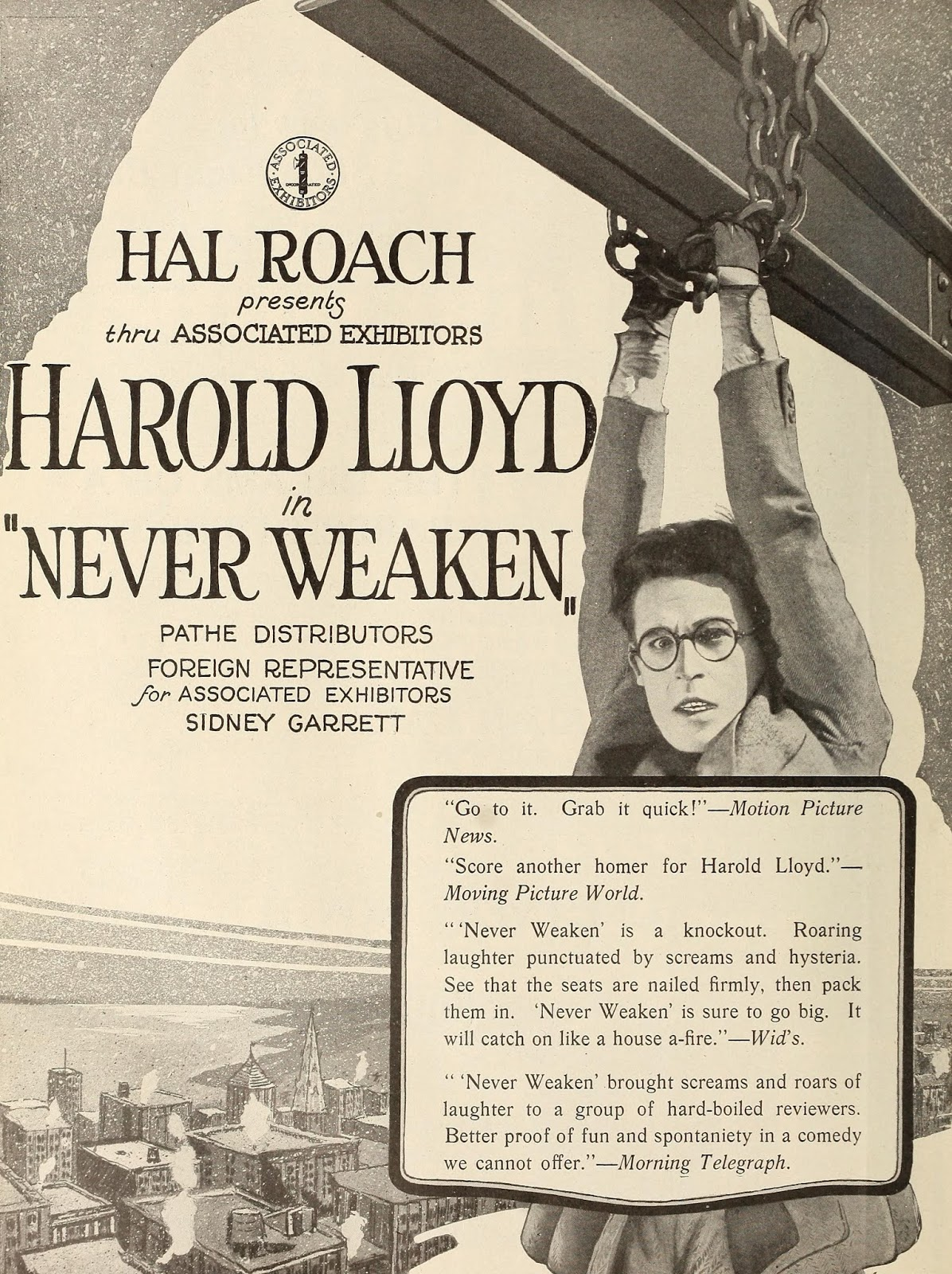Póster Película Siempre fuerte (Never Weaken) - Harold Lloyd