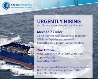 Urgently hiring on offshore vessels based in Saudi Arabia