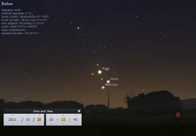 screenshot melihat hilal lewat stellarium