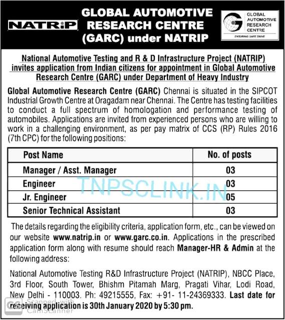 GARC Chennai Oragadam Recruitment 2020