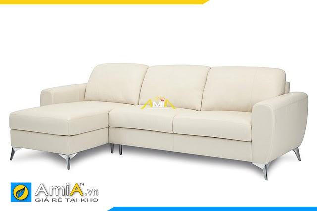 Ghế sofa nỉ màu kem đẹp kiểu góc chữ L mã AmiA 20226