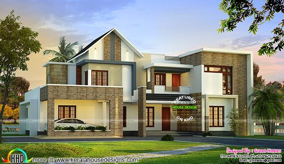 mix roof style modern house in 400 sq yd kerala home 3500 square feet 4 bedrooms 3 189 batrooms 3 parking space