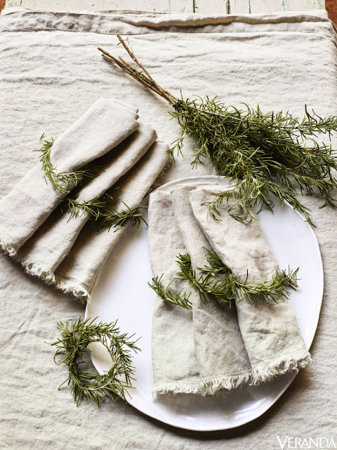 image result for rustic rosemary linen napkin placesetting