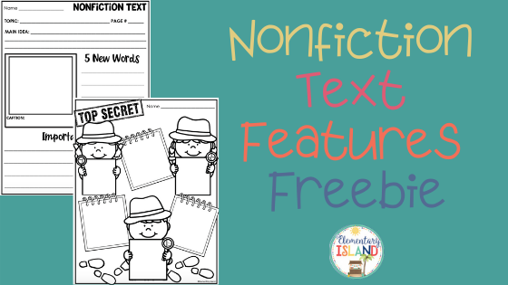 Nonfiction text feature reading response sheets