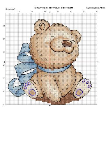 schema punto croce per bambini- orsetto con fiocchi