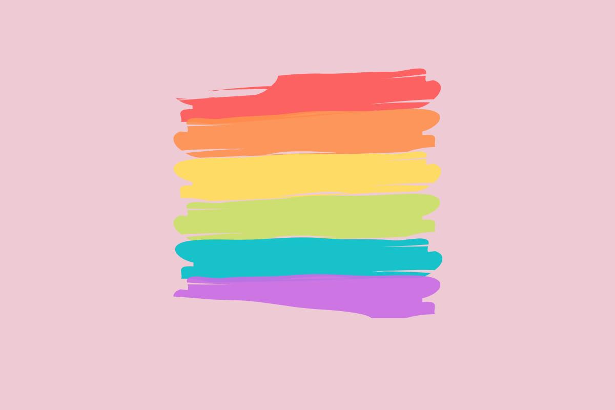Pridevlag van verfstrepen op een roze achtergrond.
