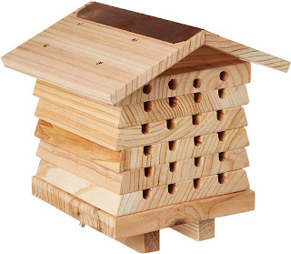 casa para abejas carpinteras de 6 niveles y huecos frontales