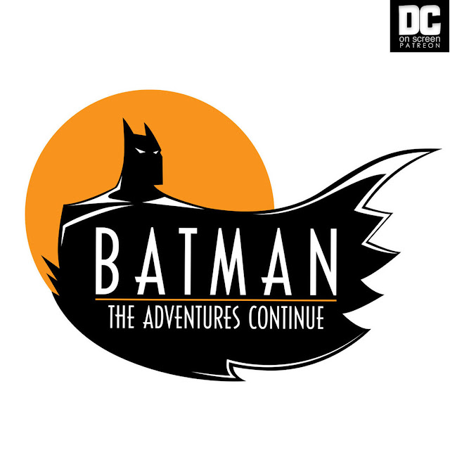 The Batman: The Adventures Continues Logo, a silhouette of Batman against a yellow moon