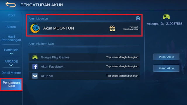 Pengaturan Akun Moonton Mobile Legends