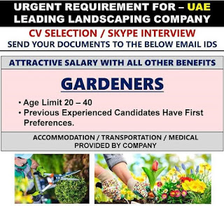 Gardeners – Landscaping Indeed Dubai Job Job Title: Gardeners – Landscaping Job Location: Dubai Job Type: Full Time Job Details Urgently we are looking for Gardeners with 3 – 5 years experience on Landscaping.