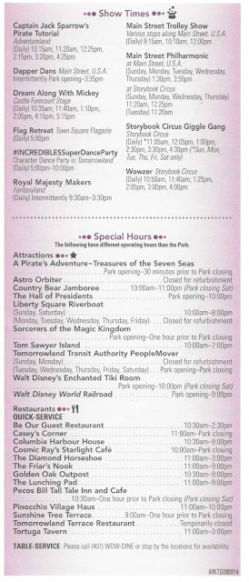 Magic Kingdom Times Guide August 2014 Back