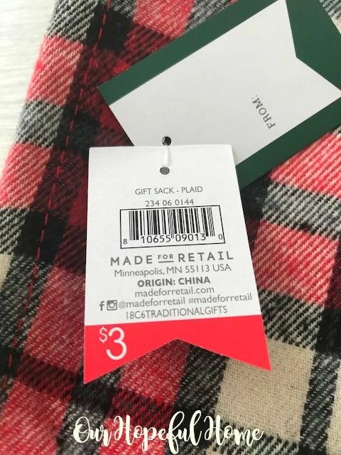 Target gift sack plaid $3 price tag