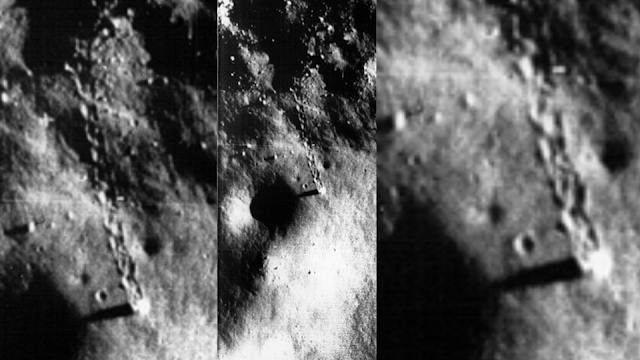 Three images into one image of the craft on the Moon leaves tracks.