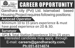Gandhara City Pvt Limited for Auto Cad Operator, Surveyor