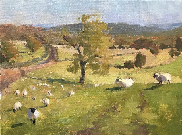 #413 'Sheep on the South Downs' 30x40cm