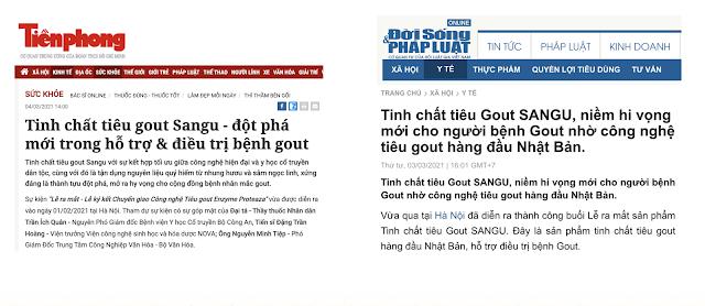 Tinh chất trị Gout Sangu review từ báo chí
