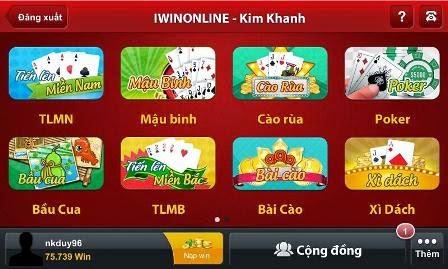 hệ thống game đa dạng của iWin Online