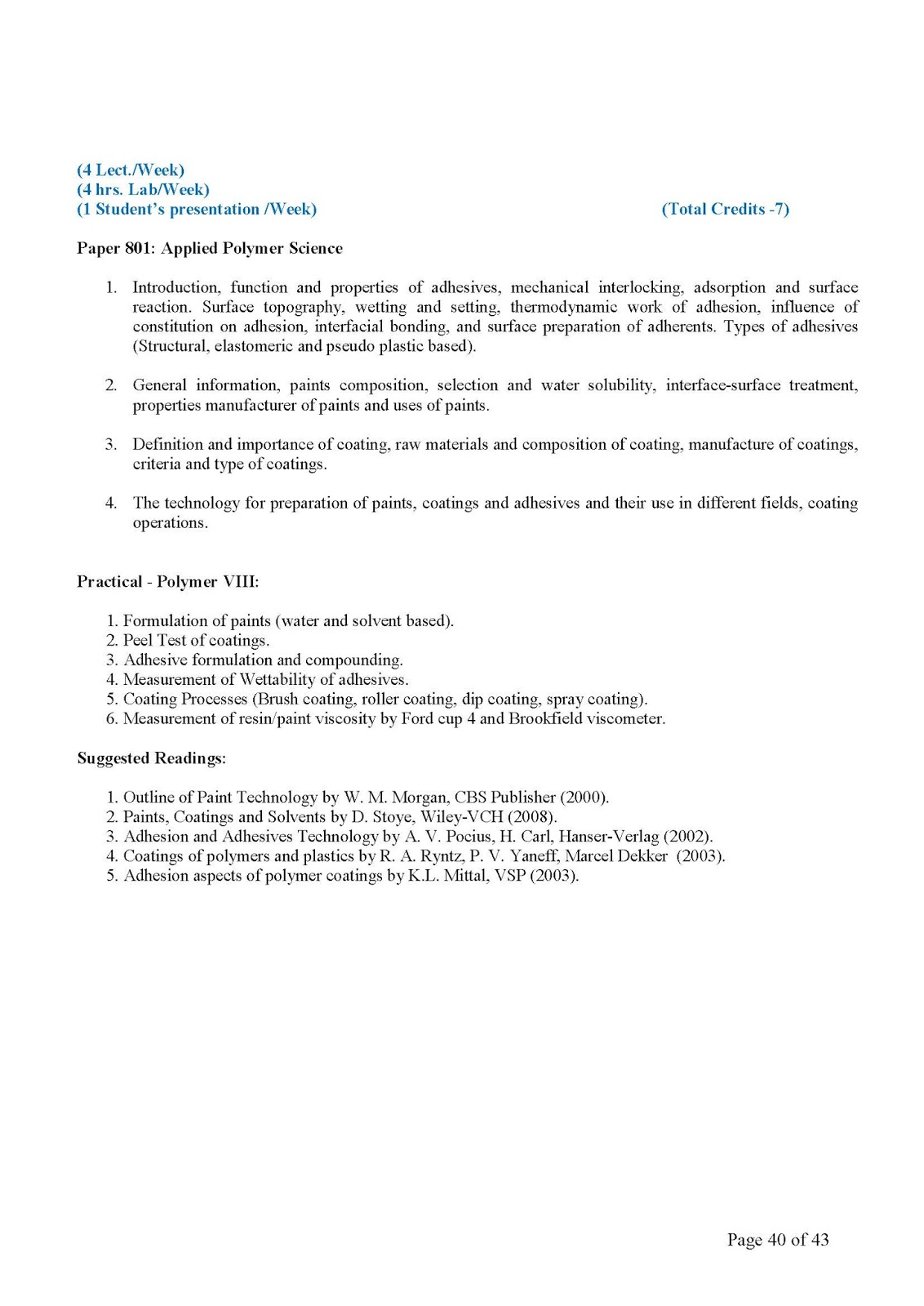 Department of Polymer Science: Syllabus (B Tech Polymer Science)