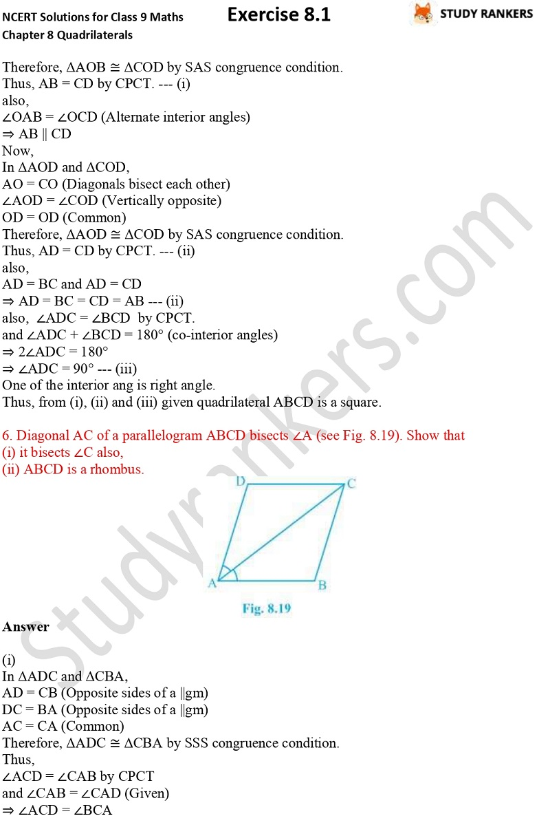 .NCERT Solutions for Class 9 Maths Chapter 8 Quadrilaterals Exercise 8.1 Part 4
