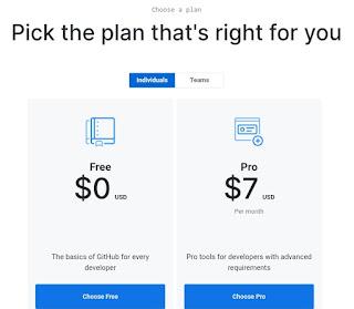 Memilih github plan