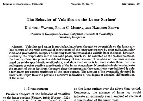 NOVA referenced this paper that identified how water ice could be hidden on the moon (Source: Watson et al, JGR, Vol 66, No. 9, 1961)