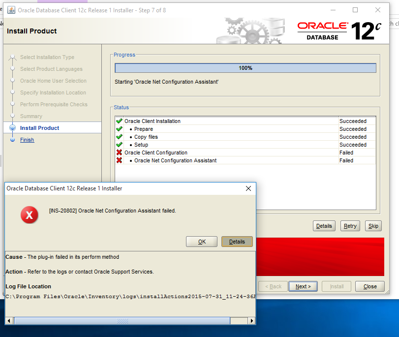 Resolving INS-20802: Oracle Net Configuration Assistant failed error
