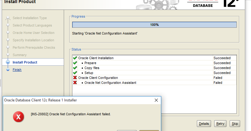 Resolving INS-20802: Oracle Net Configuration Assistant