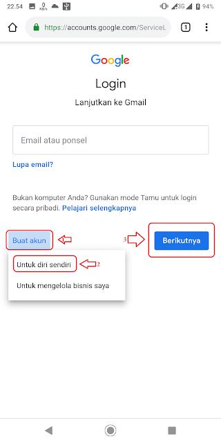 Langkah 1 membuat akun Google