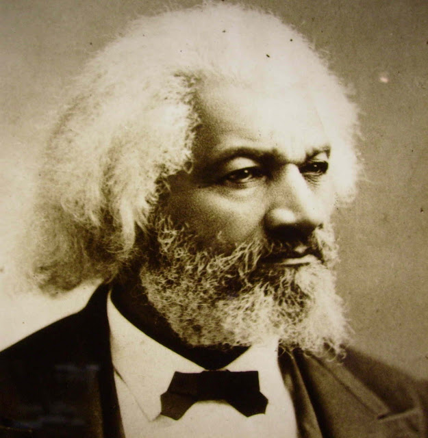 Portrait of Fredrick Douglass with white hair and beard. Other stories of Racism and Civil Rights. Mr. Douglass has more to say. marchmatron.com