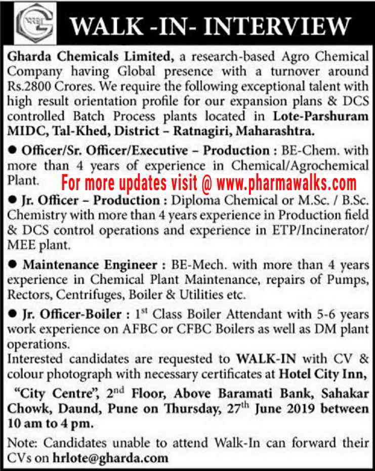 Gharda Chemicals - Walk-in interview for Production