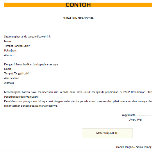 Contoh Surat Ijin Orang Tua Saat Mendaftar Di Pspp Penerbangan Web