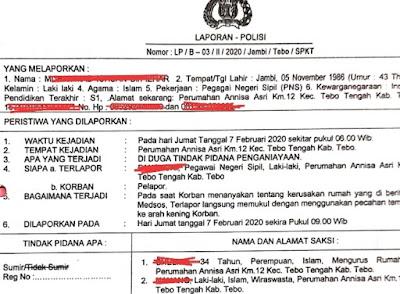 Tak Terima Dianiaya,  Staf Setda Tebo Laporkan Oknum ASN Bakeuda ke Polres Tebo