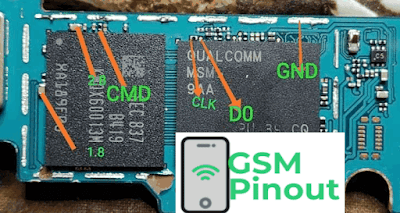 Samsung Galaxy J4+ SM-J415F ISP (EMMC) Pinout For EMMC Programming Flashing And Remove FRP Lock