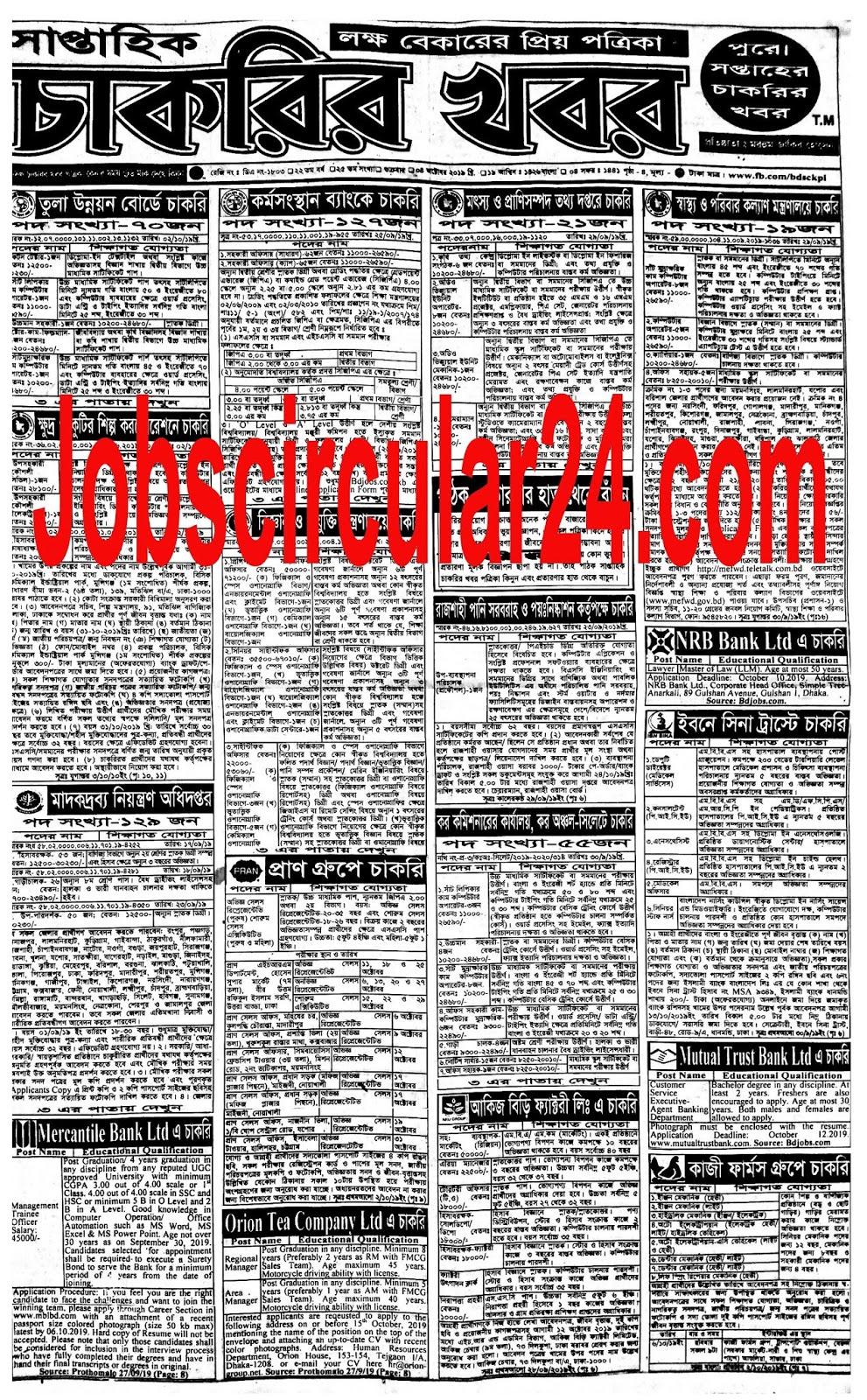 সপ্তাহিক চাকরির খবর 04/10/2019