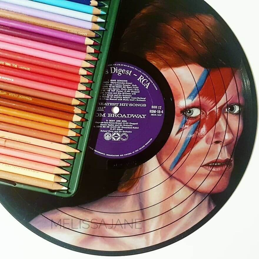 01-David-Bowie-Melissa-Jane-Celebrity-Portrait-Drawings-On-Used-Vinyl-Records-www-designstack-co