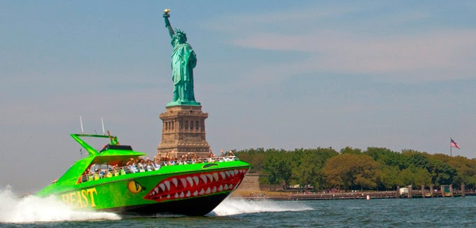The beast in front of the statue of liberty